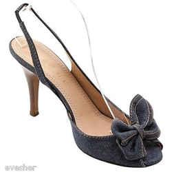Celine Blue Denim Leather Slingback Sandal Pump Heel Shoe Peep Toe 39c Vintage