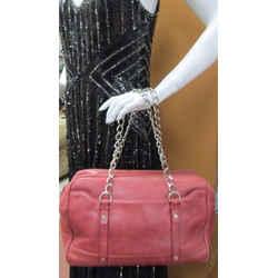 Lanvin Satchel Handbag Red Smooth Leather Chain Straps Logo Charm Silvertone