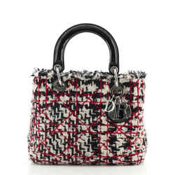 Lady Dior Bag Quilted Tweed with Patent Medium