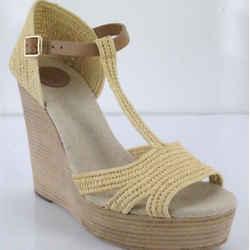 Tory Burch Beige Raffia Carina Wedge Platform Sandals Size 9.5 Nib $375 T Strap