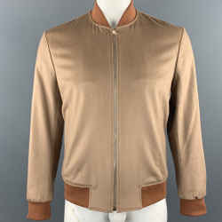 Paul Smith Size L Camel Cashmere Zip Up Bomber Jacket