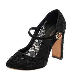 Dolce & Gabbana Black Lace Mary Jane Pumps Size 39