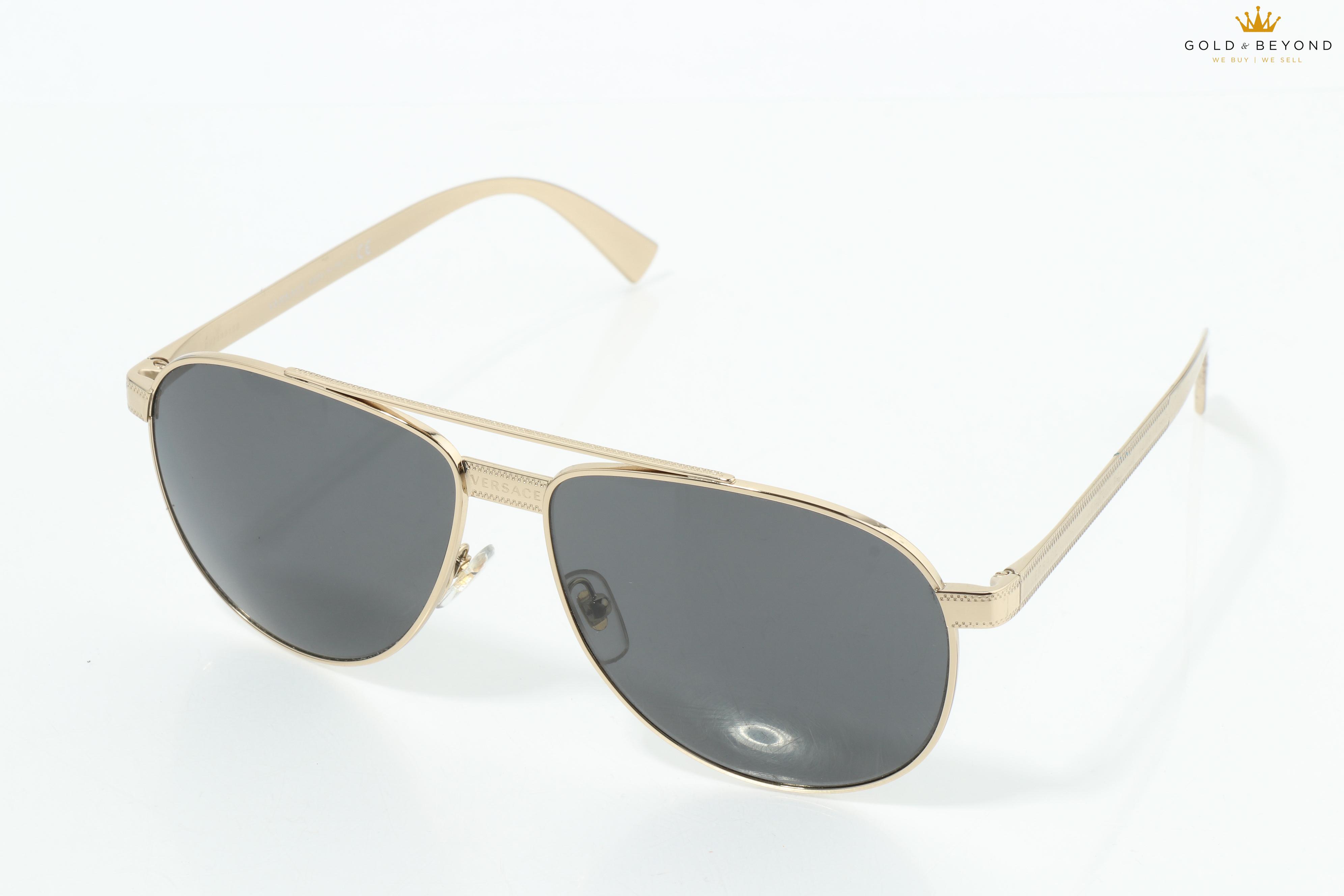 Grey Lens Authentic VERSACE Sunglasses VE 2160 1252//87 Pale Gold
