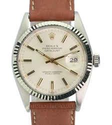 Rolex Mens Datejust Silver Dial Fluted Bezel 36mm Watch On A Leather