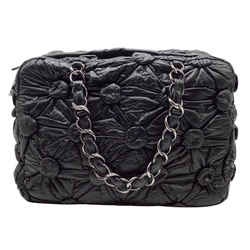 Chanel Lemarie Draped Black Lambskin Leather Shoulder Bag