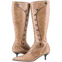 Sigerson Morrison Button Knee High Boots Tan One Size Authenticity Guaranteed