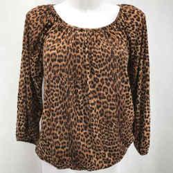 Michael Kors Brown Leopard Blouse XS
