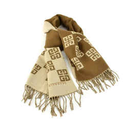 "Givenchy: Beige/brown, ""4g"" Logo 100% Wool Scarf/wrap 64"" X 19"" (ns)"