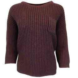 Brunello Cucinelli Burgundy Wool & Cashmere Chunky Knit Sweater