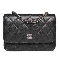 Chanel - New - 2020 Mini Wallet On A Chain Caviar Cardholder Flap Bag Black Cc