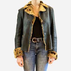 Shearling Notch-lapel Button-up Jacket