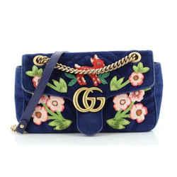 Gucci Flap Marmont GG Embroidered Matelasse Blue Velvet Cross Body 443497
