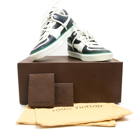 Louis Vuitton White Navy Green Leather Sneakers