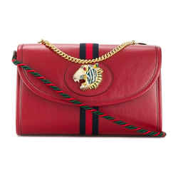 Gucci Rajah Tiger Small Shoulder Bag w / Chain Web Red Leather 570145