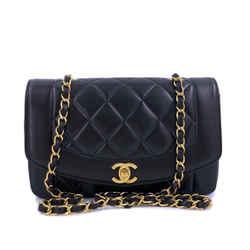 Chanel 1995 Vintage Black Small Diana Flap Bag 24k GHW Lambskin