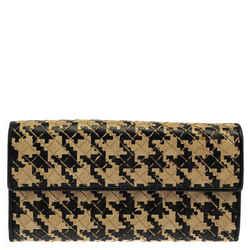 Bottega Veneta Beige/Black Houndstooth Intrecciato Leather Continental Flap