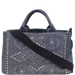 Prada Canapa Jeweled 2way Tote Bag Denim
