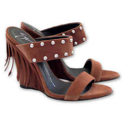 NEW $757 GIUSEPPE ZANOTTI Taline Studded Suede Wedge Sandal - Brown - Size 37