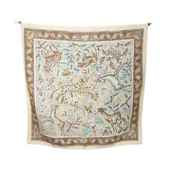 Hermes Vintage Neutral Yellow Silk Scarf with Pavement Animal Mosaic Print