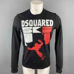 Dsquared2 Size S Black Graphic Cotton Crew-neck Pullover