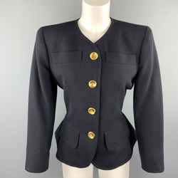 Yves Saint Laurent Rivve Gauche Size 6 Navy Wool Collarless Blazer
