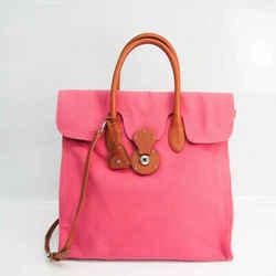 Ralph Lauren Ricky Women's Leather,Canvas Handbag,Shoulder Bag Brown, FVEL000035