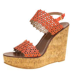 Tory Burch Coral Red Perforated Leather Daisy Cork Wedge Sandals Size 40.5