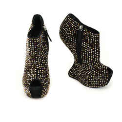 GIUSEPPE ZANOTTI: Black, Leather & Crystals Platform Ankle Boots/Booties Sz: 9M