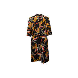Black & Multicolor Fendi Floral Print Dress