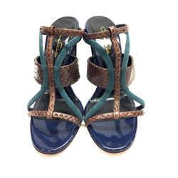 Oscar De La Rent Brown Python Skin Teal Suede Royal-Blue Patent Leather Hi-heel Mule Sandals
