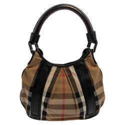 Burberry Beige/Black House Check Canvas and Leather Phoebe Hobo