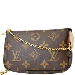 Louis Vuitton Mini Pochette Monogram Canvas Accessories Pouch Brown