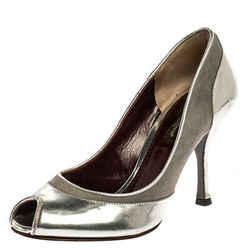 Dolce & Gabbana Silver Leather Peep Toe Pumps Size 35