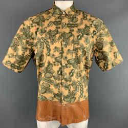 Dries Van Noten Size Xl Gold & Green Floral Cotton Bronze Hem Short Sleeve Shirt