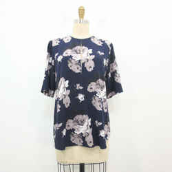 S - Theory Antazzie Navy Distressed Floral Printed Flowy Silk Blouse Top 0000MB