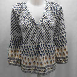 Joie Blue Silk Blouse Small