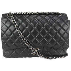 Chanel Black Quilted Lambskin Maxi Classic Double Flap Silver Chain 69cas726