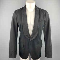 Dries Van Noten Size 36 Black On Black Stripe Cotton / Rayon Sport Coat