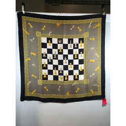 Paloma Picasso Chess Board Game Black White Gold  Silk Scarf 1537-141-92419