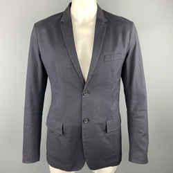 Jil Sander Size 44 Navy Cotton Blend Notch Lapel Sport Coat