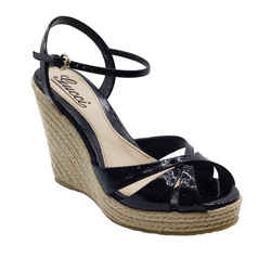 Gucci Black Patent Leather Raffia Wedges