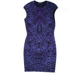 Alexander Mcqueen - Wool Knit Dress - Black Purple Filigree Mini - Us M - Medium