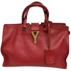 "Saint Laurent Cabas Small Classic Y Red Leather Shoulder Bag 9""l X 11.5""w X 5""h Item #: 25608772"