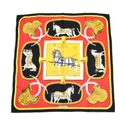 "Hermes ""Grand Apparat"" Red and Black Silk Scarf HA578"