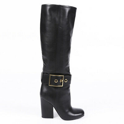 Gucci Leather Buckled Square Toe Boots SZ 36