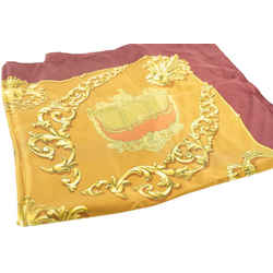 Hermes Burgundy x Gold Silk Carrosses D'or Silk Scarf 704her319