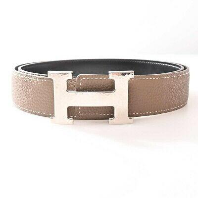 Auth Hermes H Belt 90 Women's Leather Standard Belt Black,gray 47.5