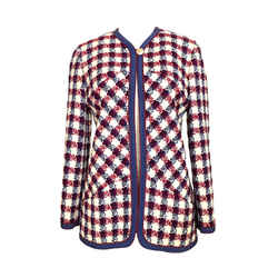 Chanel Boucle One Button Jacket In Navy, Burgundy And Ivory, Very Pretty 40 / 6