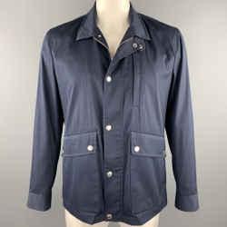 BRUNELLO CUCINELLI Size 42 Navy Cotton Blend Zip & Snaps Jacket