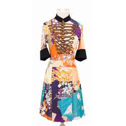 Sz 38 New $4500 Gucci Runway Orange Japanese Floral Patchwork Logo Buttons Dress